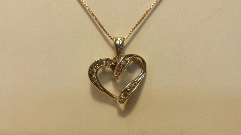 10k Yellow Gold Box Chain with Heart Pendant and 13 Diamonds at .26ctw - 2.2dwt