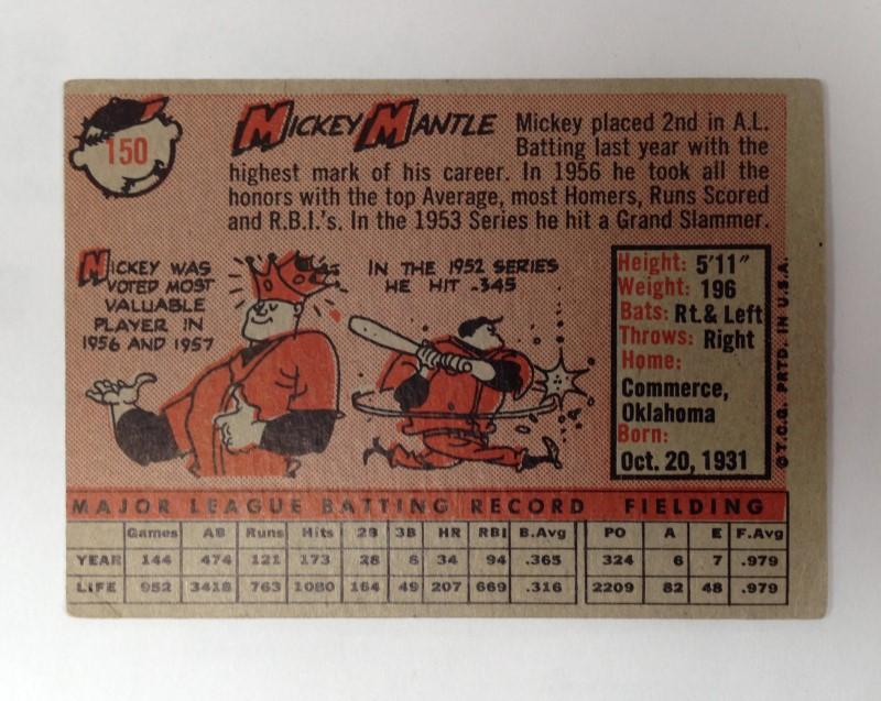 T.G.C. Sports Memorabilia 1958 MICKEY MANTLE # 150
