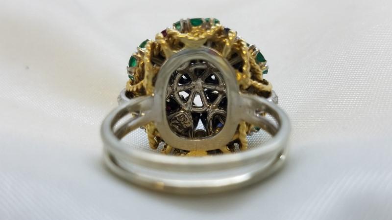 Ruby Lady's Stone & Diamond Ring 27 Diamonds .54 Carat T.W. 18K White Gold