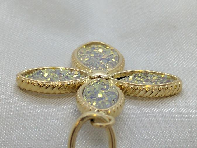 Cross Pendant White Druzy Quartz Inlay 14K Yellow Gold