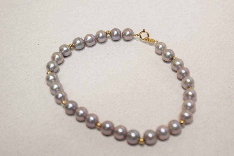 Pearl Gold-Stone Bracelet 14K Yellow Gold 8.6g