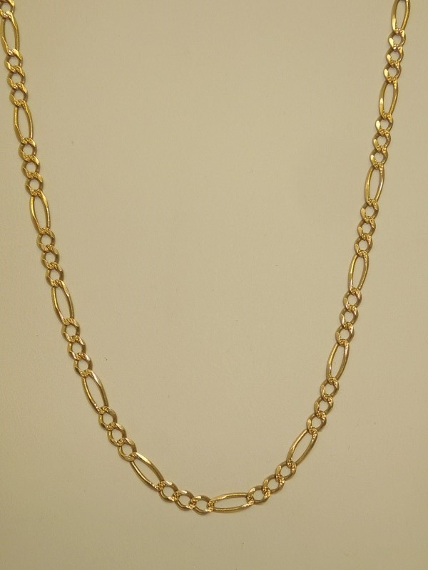 "24"" Gold Figaro Chain 14K Yellow Gold 8.8g"