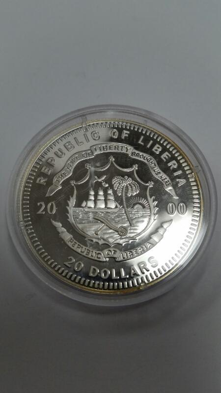 AMERICAN MINT REPUBLIC OF LIBERIA $20.00 SILVER COIN  WILLIAM CLINTON