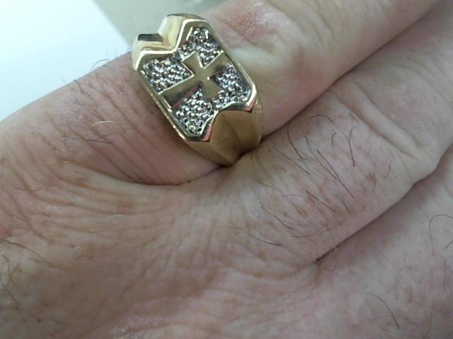 Gent's Diamond Fashion Ring 6 Diamonds .06 Carat T.W. 10K Yellow Gold 4.7g