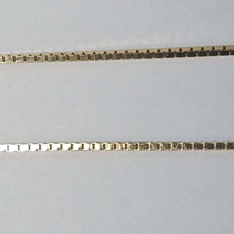 "18"" GOLD BOX CHAIN: 2.6G 14K-Y/G, WITH CROSS"