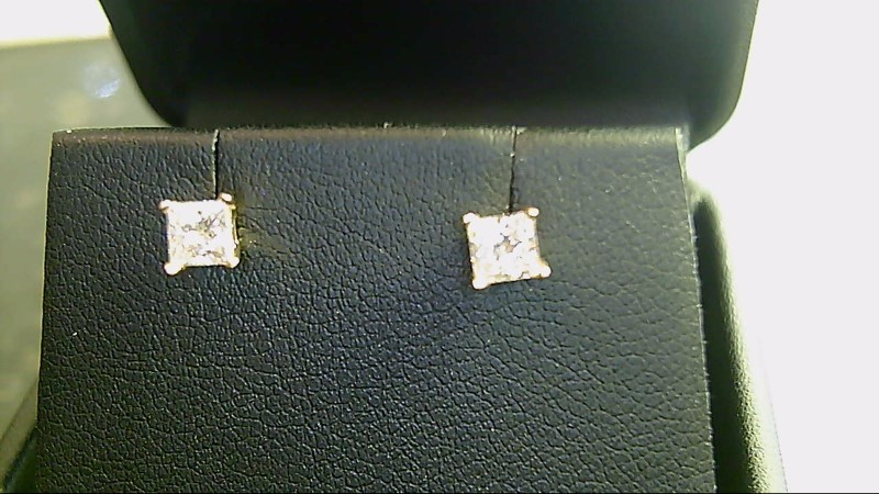 lady's 14k yellow gold princess cut diamond stud earrings