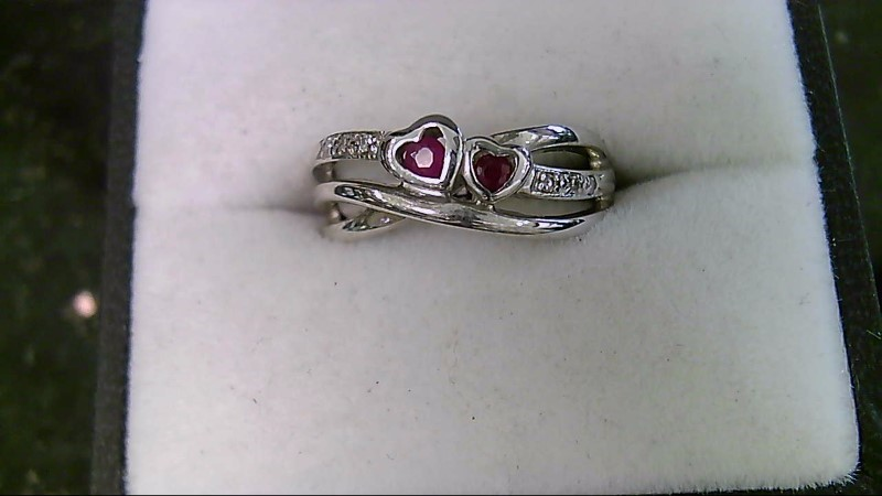 July Birthstone Heart Ruby and Diamond White Gold Ring