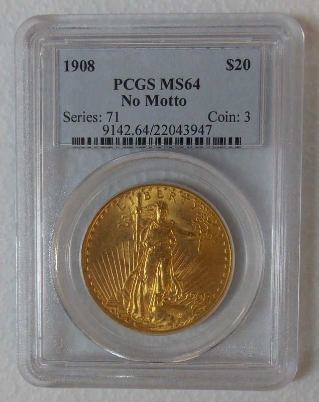 1908 GOLD SAINT-GAUDENS DOUBLE EAGLE COIN, $20, NO MOTTO, PCGS MS64