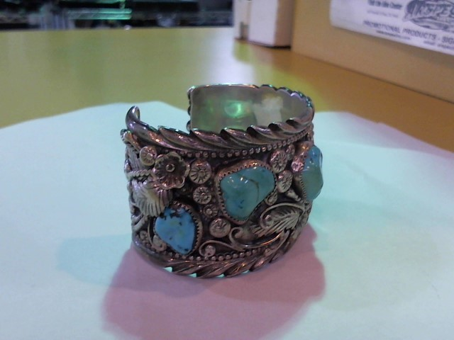 Synthetic Turquoise Silver-Stone Bracelet 925 Silver 146.7g