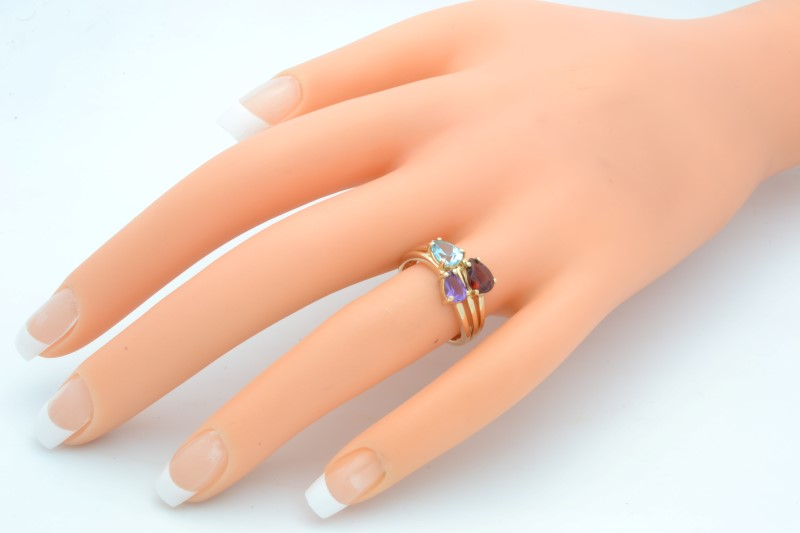 ESTATE MIX GEM STONE RING SOLID 14K GOLD PEAR CUT CLUSTER SIZE 6.75