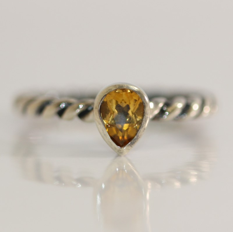 Twisted Sterling Silver Pear Cut Yellow Stone Ring SIze 7