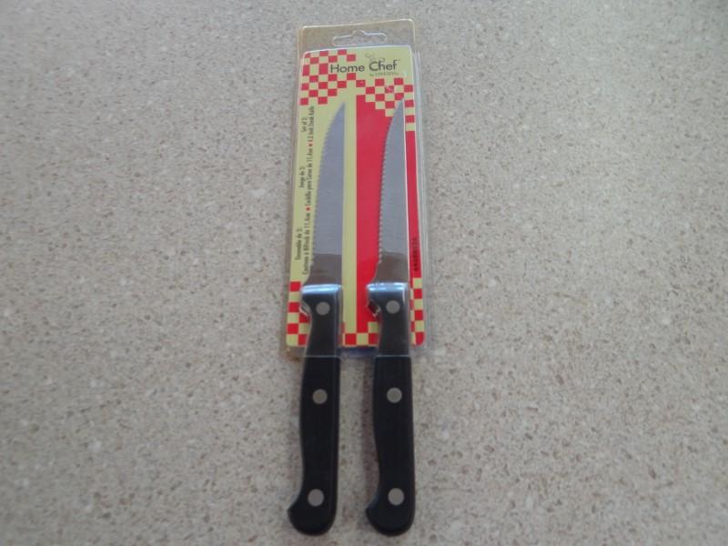 "ONEIDA HOME CHEF SET OF 2 4.5"" STEAK KNIVES NEW"