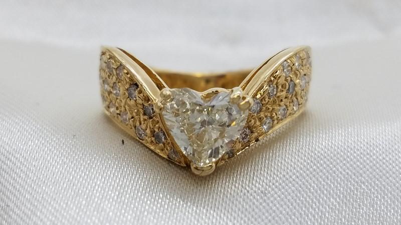 Lady's Diamond Engagement Ring 33 Diamonds 1.31 Carat T.W. 14K Yellow Gold 6g
