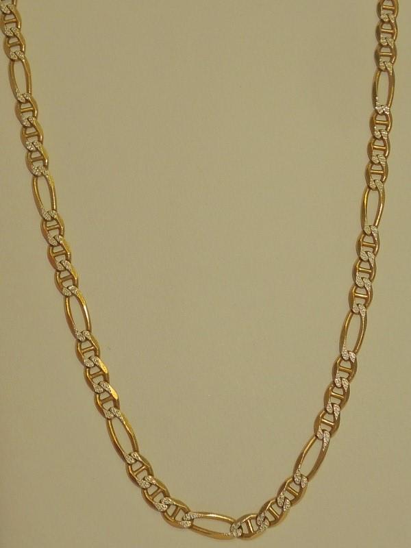 "20"" Gold Figaro Chain 14K 2 Tone Gold 13g"