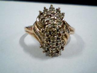 Lady's Diamond Cluster Ring 38 Diamonds .38 Carat T.W. 10K Yellow Gold 2.6g
