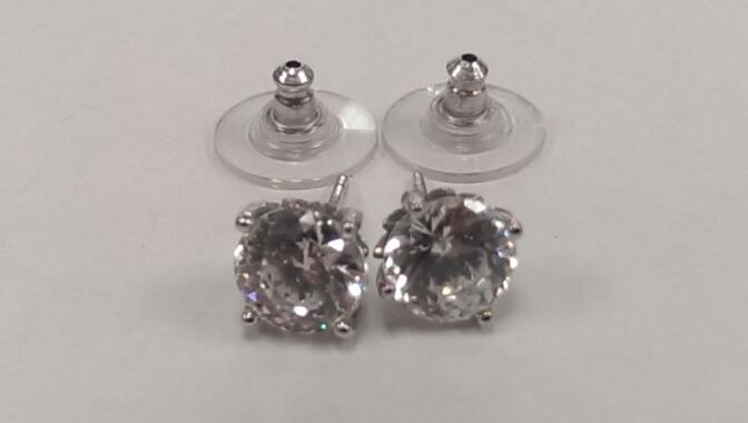 Synthetic Cubic Zirconia Silver Earrings 925 Silver 2.9g