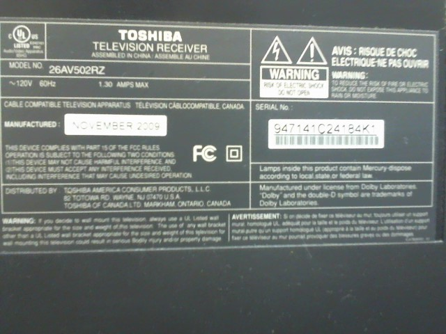 TOSHIBA Flat Panel Television 26AV502RZ