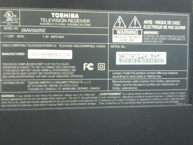 TOSHIBA Flat Panel Television 26AV502RZ