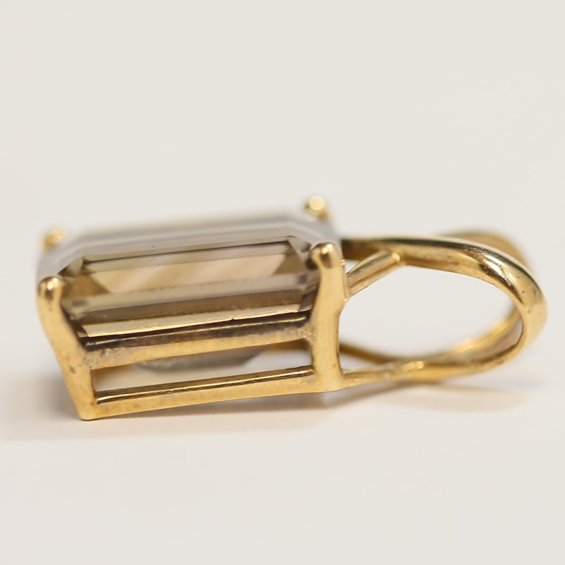10K Yellow Gold Large Emerald Cut Smokey Topaz Criss-Cross Pendant