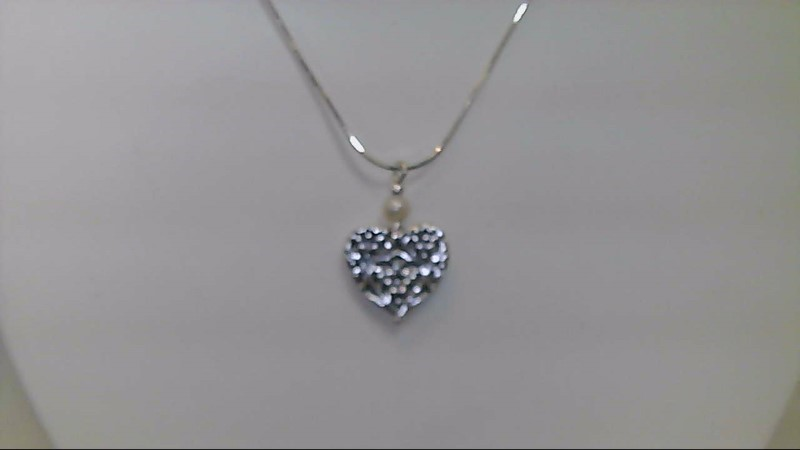 lady's sterlings silver heart with wht pearl necklace, 7.88g
