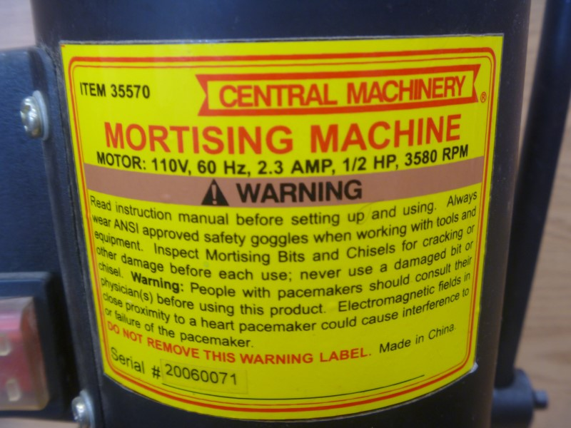"CENTRAL MACHINERY 35570 1/2 HP MORTISING MACHINE WITH EXTRA BITS AND 3/8"" CHUCK"