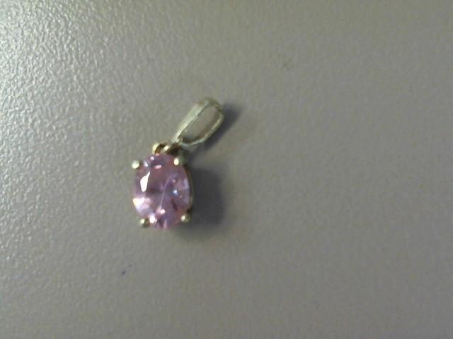Pink Stone Gold-Stone Pendant 10K Yellow Gold 0.7dwt