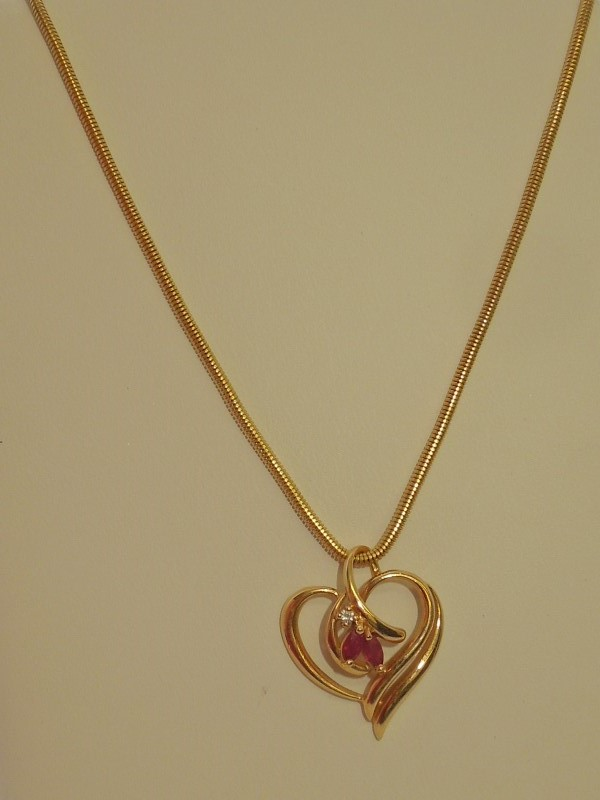 Synthetic Ruby Diamond & Stone Necklace .01 CT. 14K Yellow Gold 10.3g