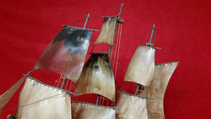 Handcarved Bull Horn Sailing Ship Brig - Signed by Artist