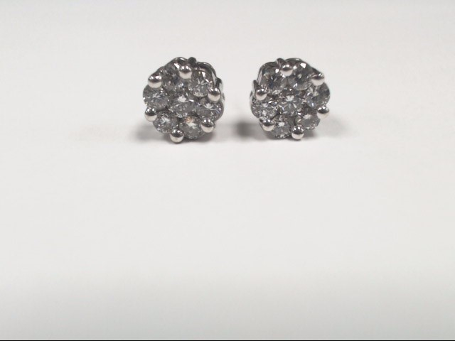 Gold-Diamond Earrings 14 Diamonds 1.04 Carat T.W. 14K White Gold 3.4g