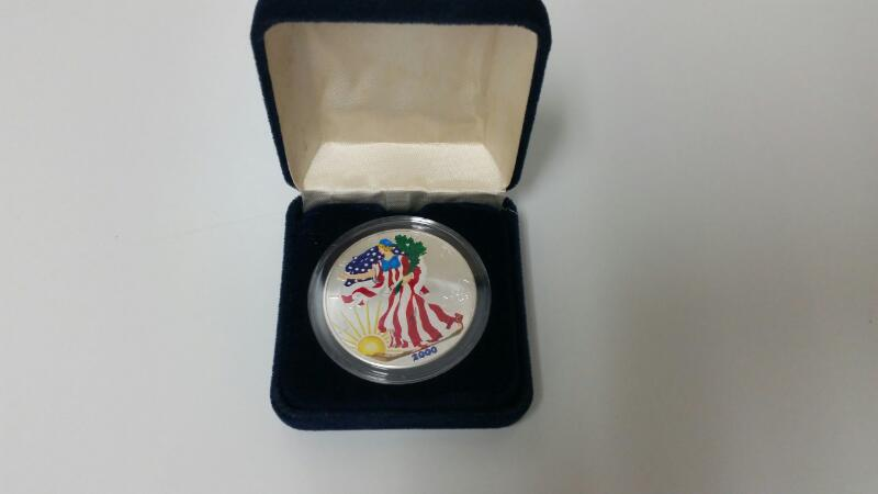 2000 Painted Walking Liberty American Eagle 1oz Fine Silver Coin Bullion
