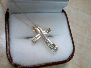 Diamond Necklace 22 Diamonds .22 Carat T.W. 10K Yellow Gold 1.9g