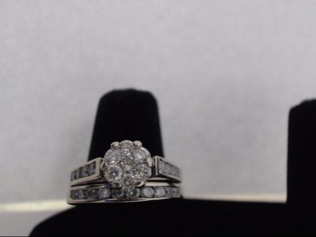 Lady's Diamond Cluster Ring 25 Diamonds .67 Carat T.W. 14K White Gold 6.2g