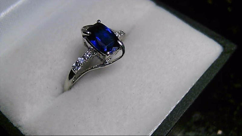 Emerald Cut Sapphire Lady's Silver & Stone Sterling Silver Ring 925