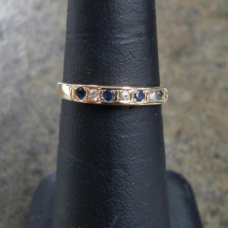 Sapphire Lady's Stone & Diamond Ring 3 Diamonds .09 Carat T.W. 14K Yellow Gold