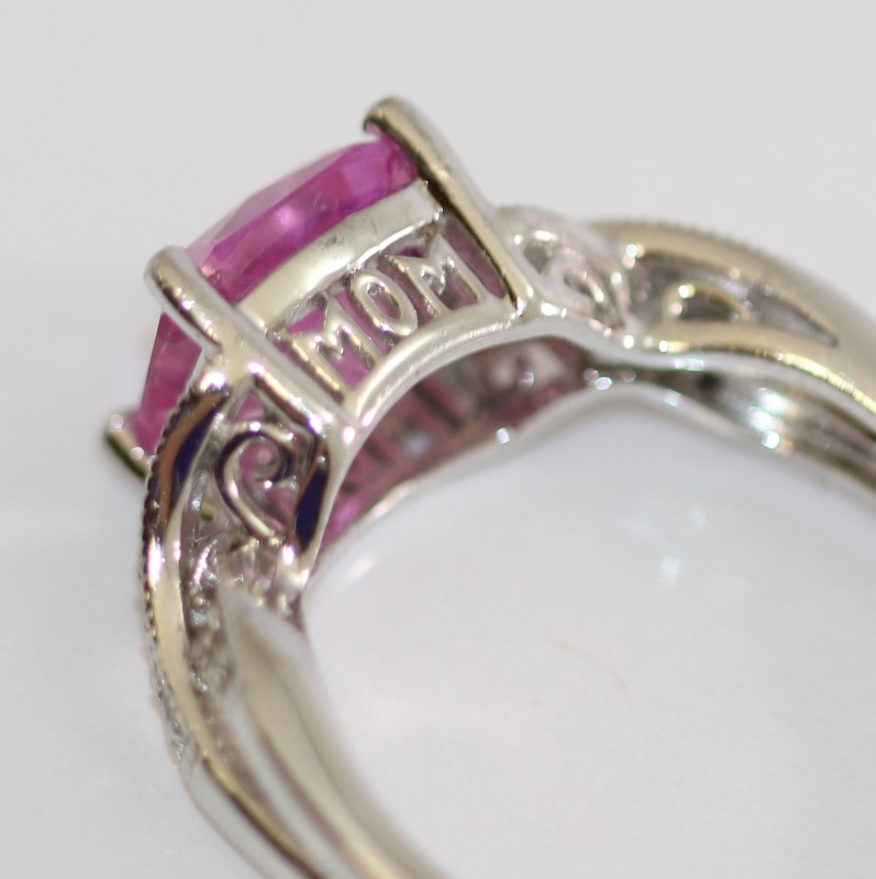 """""""Mom"""" Cut Out Sterling Silver Cushion Cut Pink Stone Ring Size 7.25"""