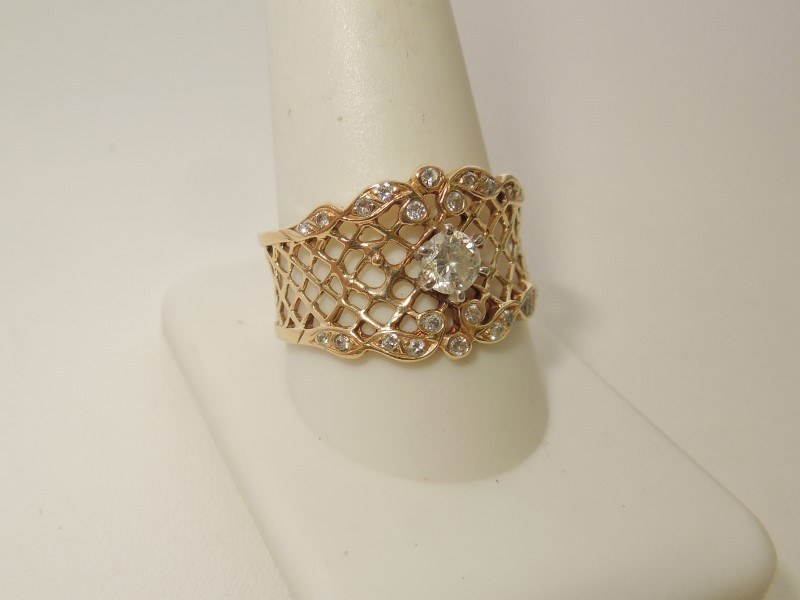 Lady's Diamond Fashion Ring 23 Diamonds .57 Carat T.W. 14K Yellow Gold 6.1g