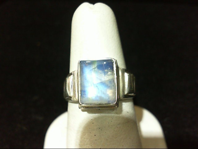 Lovely Lady's Silver Moon Stone Ring with Great Auroa and Flash 925 Silver 8gram