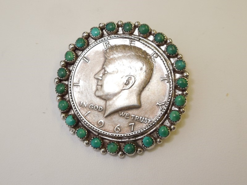 Synthetic Turquoise Silver-Stone Brooch 925 Silver 21.8g