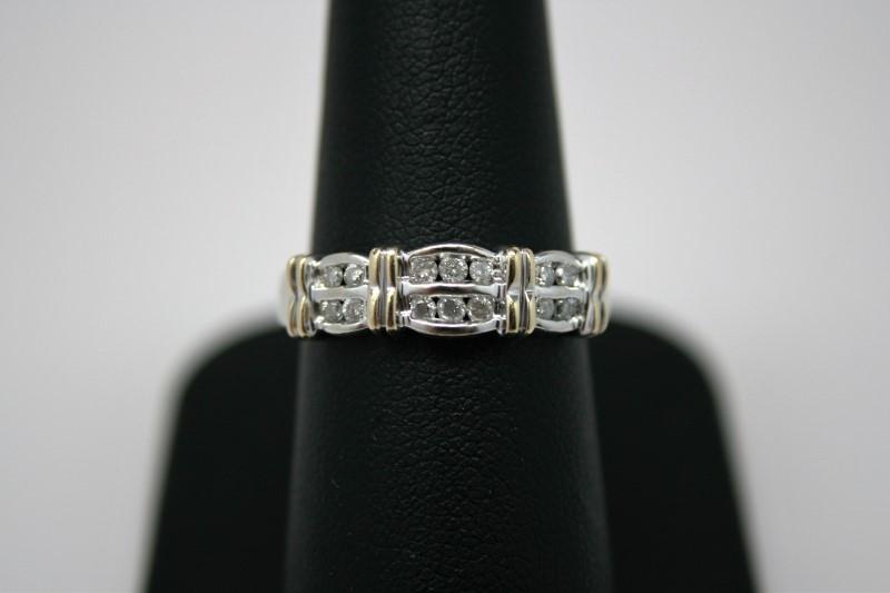 LADY'S DOUBLE DIAMOND BAND 10K 2 TONE GOLD
