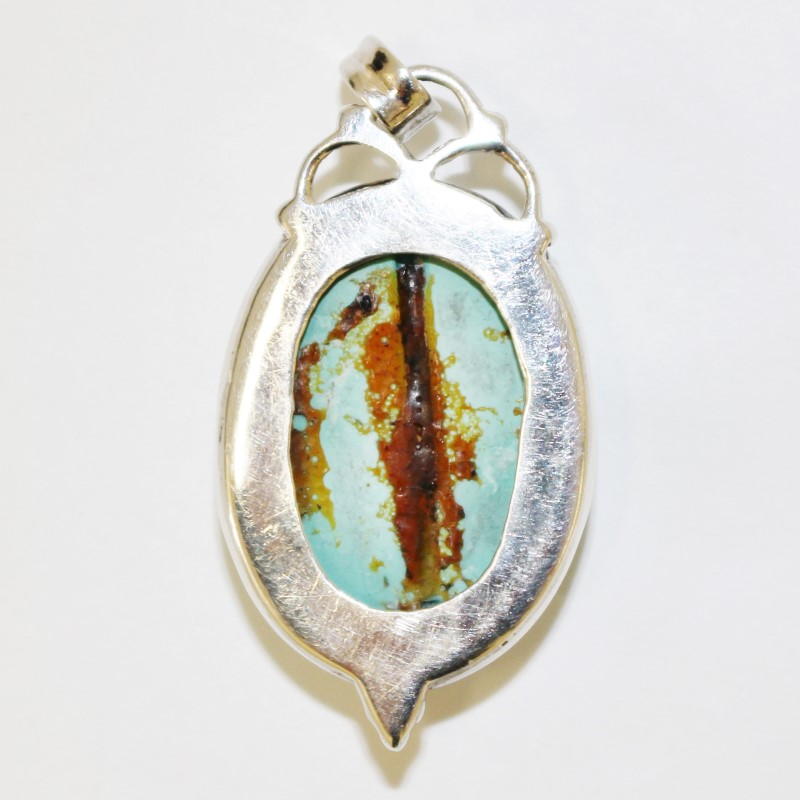 Marbled Turquise Stone and Sterling Silver Pendant