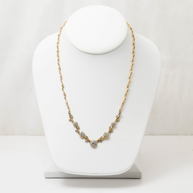 """16"""" 14K Yellow Gold & White Stone Floral an Vine Design Necklace"""