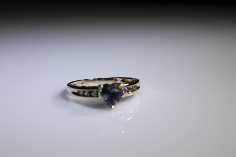 Synthetic Alexandrite Lady's Stone & Diamond Ring 6 Diamonds .030 Carat T.W.