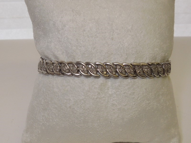 Silver-Diamond Bracelet 172 Diamonds 1.72 Carat T.W. 925 Silver 12.1g