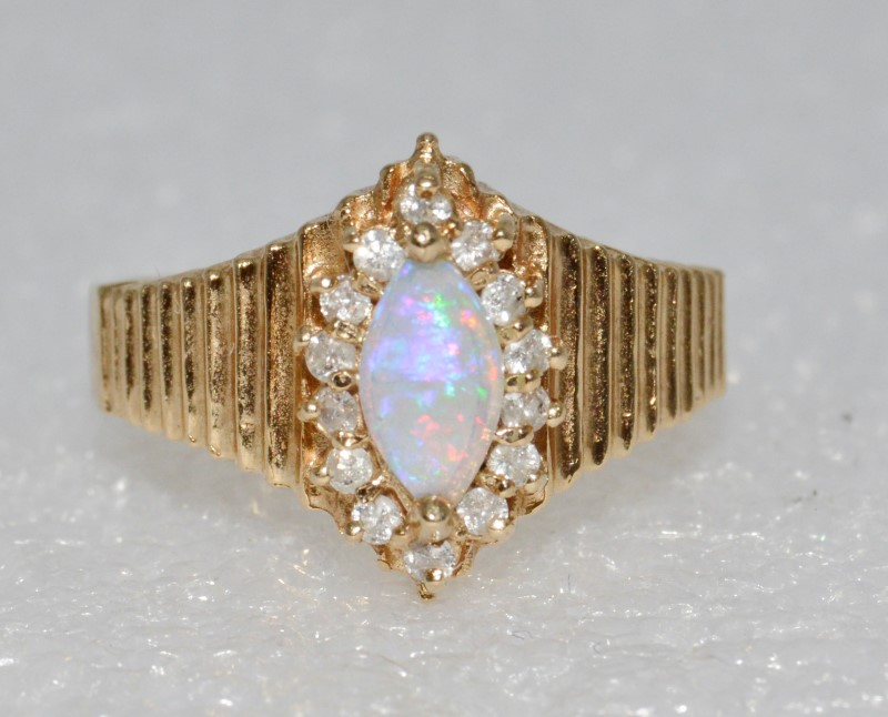 Marquis Created Opal & Diamond Ridged Ring sz 7
