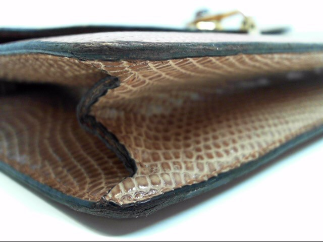 GUCCI VINTAGE LIZARDSKIN TAN CLUTH