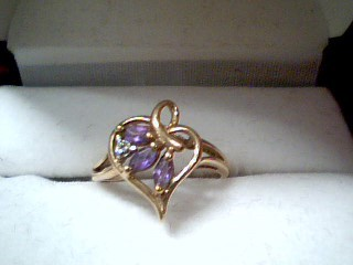 Synthetic Amethyst Lady's Stone & Diamond Ring .01 CT. 10K Yellow Gold 1.5g