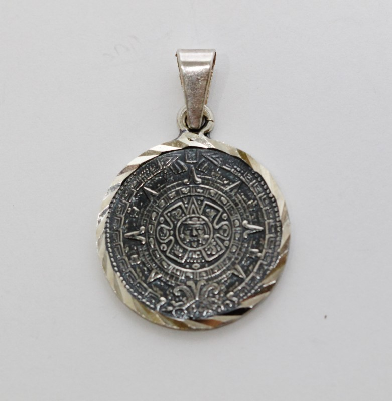 Sterling Silver Mexican Made Mayan Calendar Pendant w/ Diamond Cut Bezel