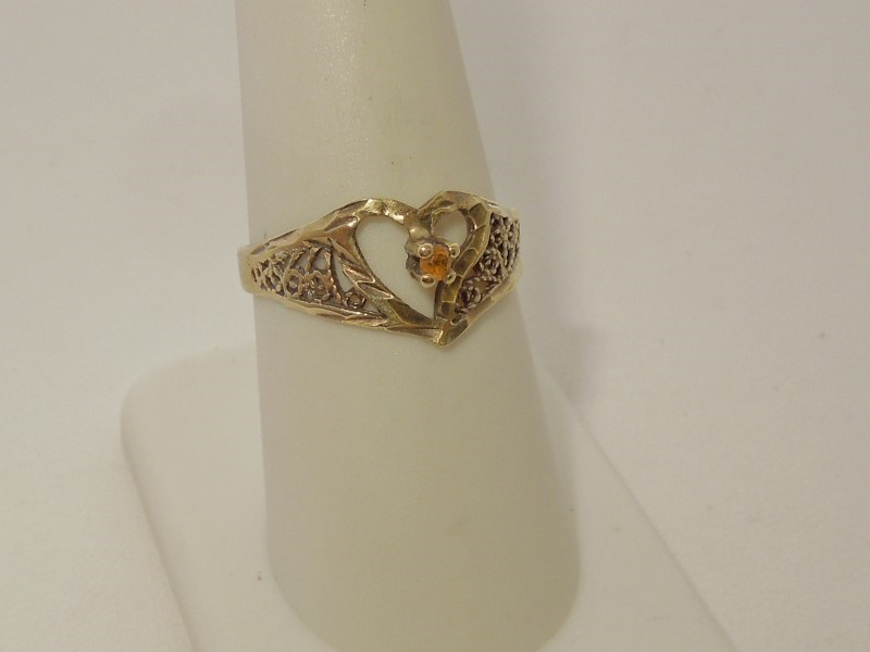 Synthetic Citrine Lady's Stone Ring 10K Yellow Gold 1.5g Size:8