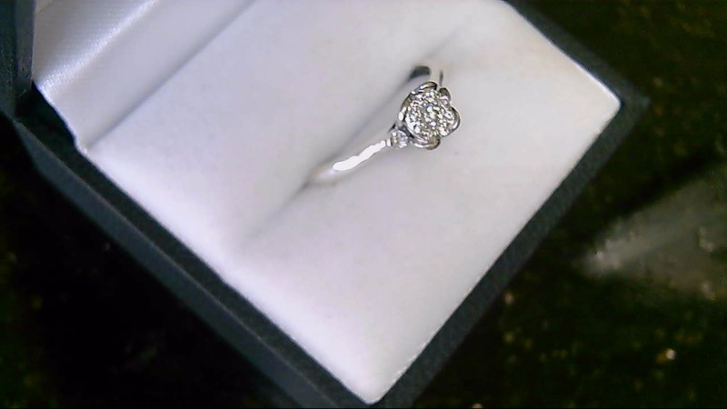 lady's sterling silver 925 diamond cluster ring