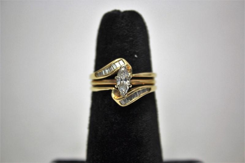 Lady's Diamond Wedding Set 19 Diamonds .84 Carat T.W. 14K Yellow Gold 5.4g